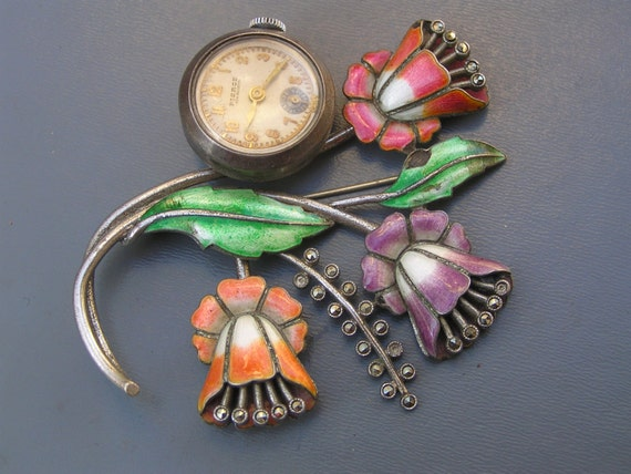 Vintage Art Deco Pin . Brooch . Watch . guilloche