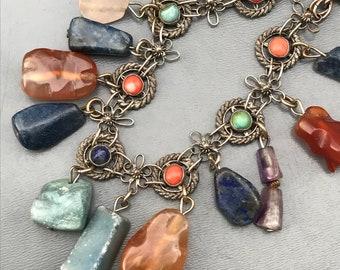 Vintage Chinese China  Charm Bracelet .  Coral , Turquoise . Gemstones Jewelry