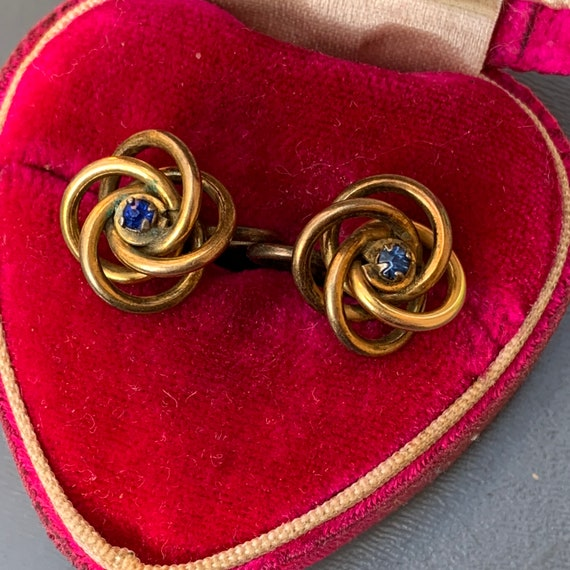 Antique  Victorian Love Knot Earrings . Gold Earr… - image 1