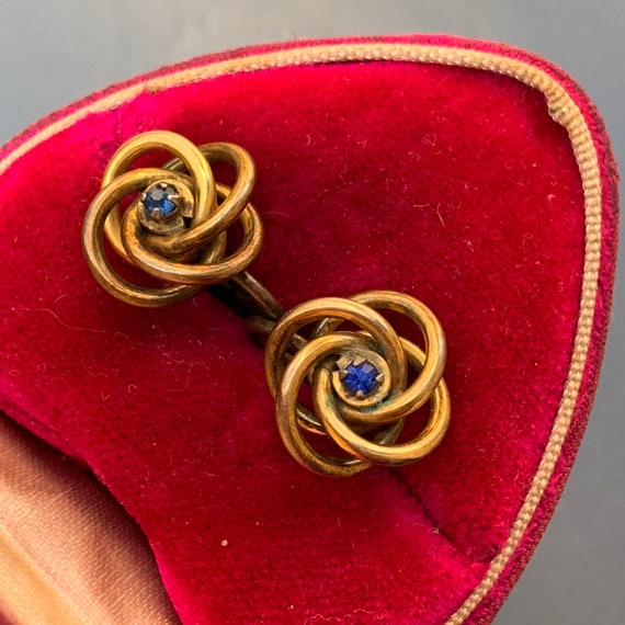 Antique  Victorian Love Knot Earrings . Gold Earr… - image 3