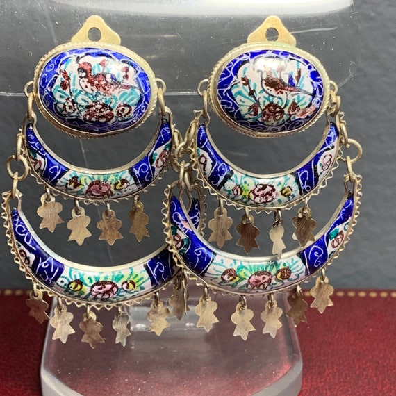 Vintage Dangle Clip-on earrings . Persian Enamel