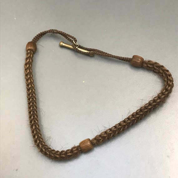 Antique Victorian  Choker Necklace .  Mourning Hai