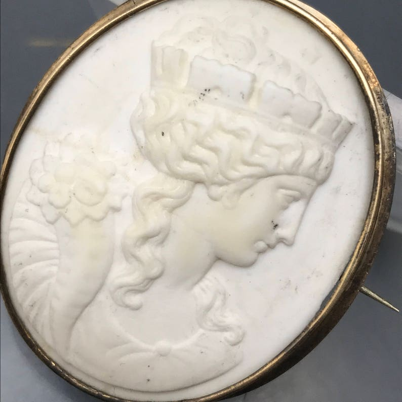 Gold Filled Victorian Jewelry Antique Lava Cameo Pin Brooch