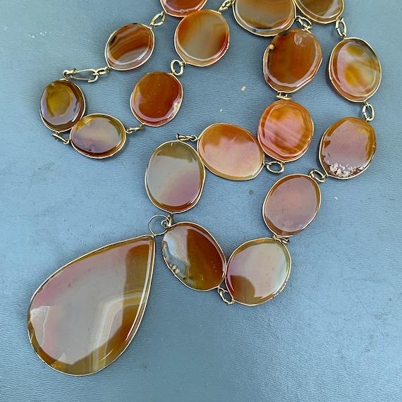 Vintage Statement Necklace . Polished  Bezel set A