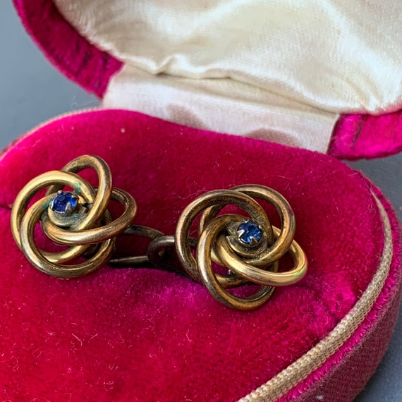 Antique  Victorian Love Knot Earrings . Gold Earr… - image 4
