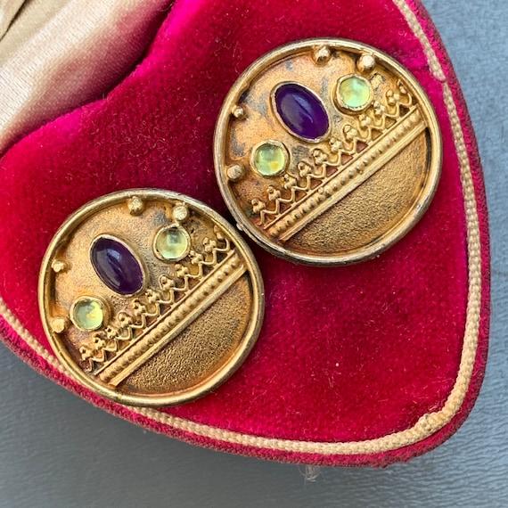 Vintage Silver Gemstones  Earrings  . Gold gilt St