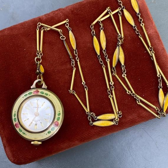Bucherer  Guilloche Enamel Watch Pendant Necklace