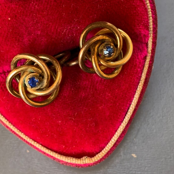 Antique  Victorian Love Knot Earrings . Gold Earr… - image 2