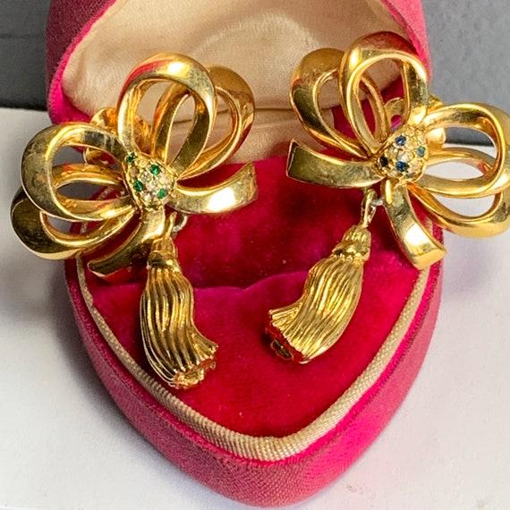 Massive Bow Tassel Dangle Drop Earrings   . Clip-o