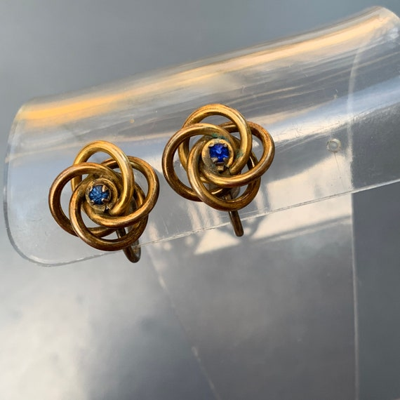 Antique  Victorian Love Knot Earrings . Gold Earr… - image 6