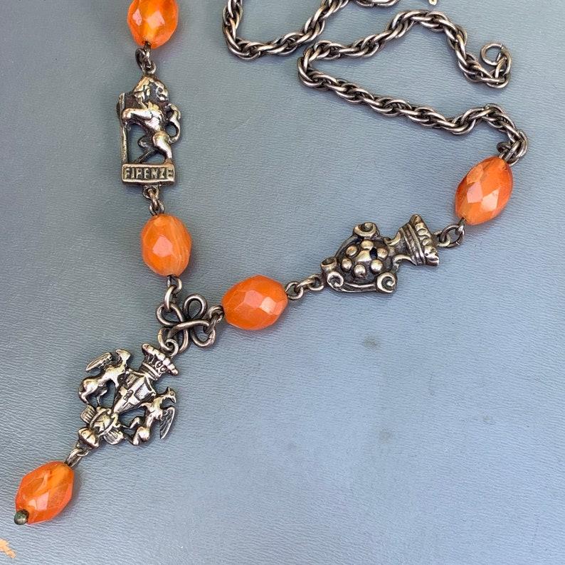 Vintage Peruzzi Italian sterling silver Carnelian Necklace   Fine Jewelry