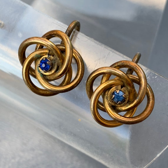Antique  Victorian Love Knot Earrings . Gold Earr… - image 5