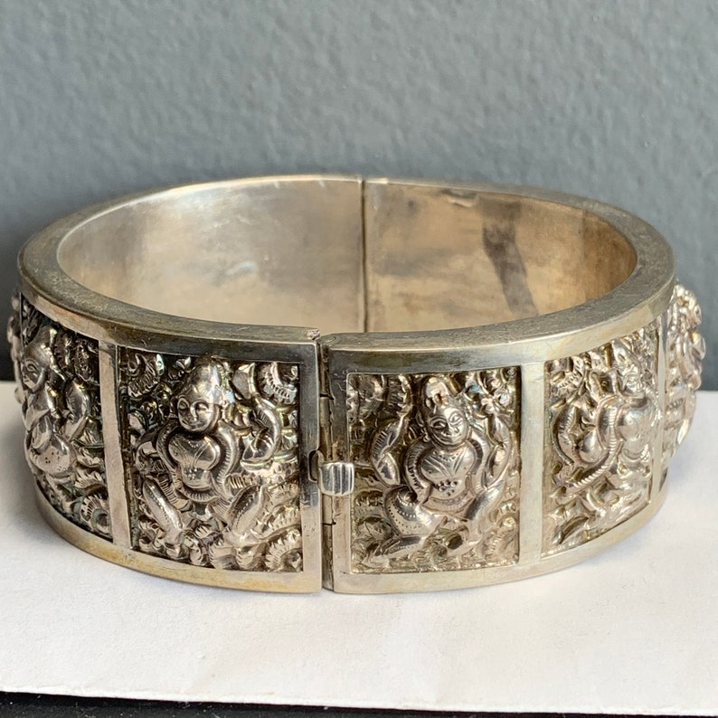 Antique Bangle   Sterling Silver   Anglo Indian   Victorian Bristish Raj  Jewelry