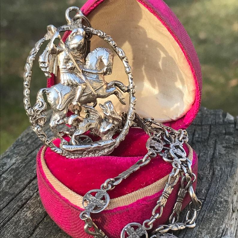 Antique Peruzzi Necklace   800 Silver   St George   Italian Cini coppini  Jewelry
