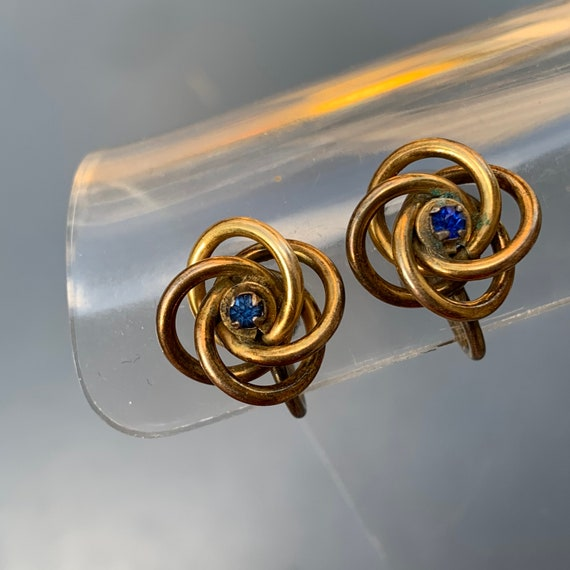 Antique  Victorian Love Knot Earrings . Gold Earr… - image 7