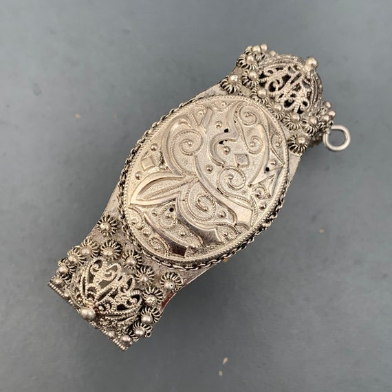 Antique Silver Filigree Islam Calligraphy Etruscan Brooch