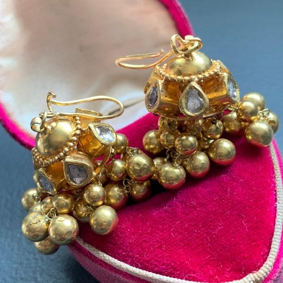 Vintage 22 kt Solid Gold , Diamond Dangle Earrings