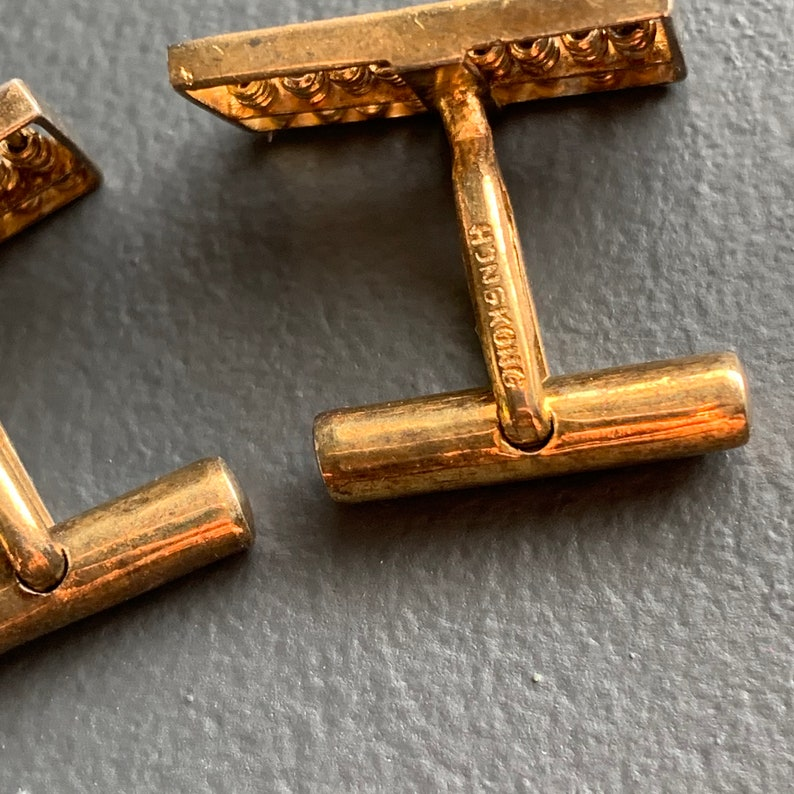 Sterling silver Chinese abacus cufflinks Vintage Gold Gilt Sterling Silver Cufflinks Vintage  jewelry