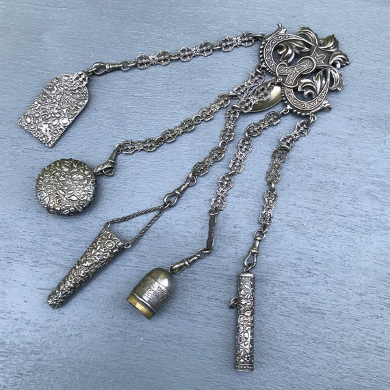 Antique Victorian  Chatelaine Pin . Costume Jewelr