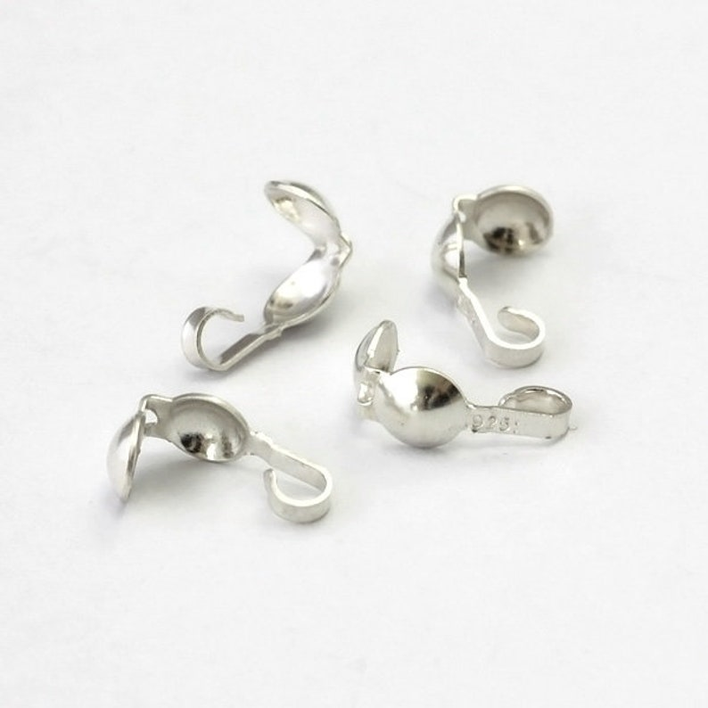Sterling Silver Bead Tips Clamshells for Bead Ends Bead Tip for Jewelry 10pcs