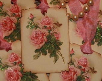 Pretty Pink Roses Gift Tags