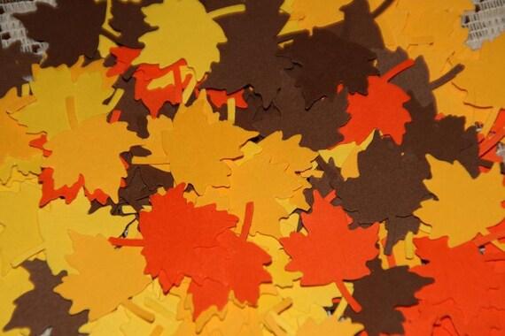 200 Fall Autumn Maple Leaf  Embellishment Confetti