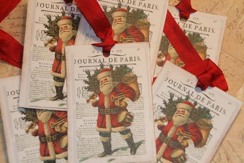 Journal De Paris Old World Santa Paris  Vintage Christmas Gift Tags