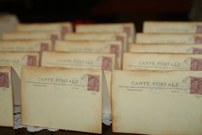 Wedding Place Cards Vintage Post Cards Placecards Escort image 0