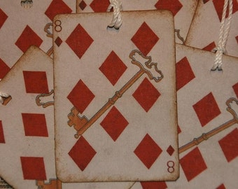 Vintage Playing Card 8 of Diamonds Gift Tags