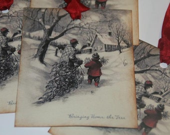 Christmas Gift Tags Bringing Home The Tree Vintage Christmas