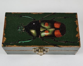 Handcrafted Decoupage Beetle Small Rectangular Box