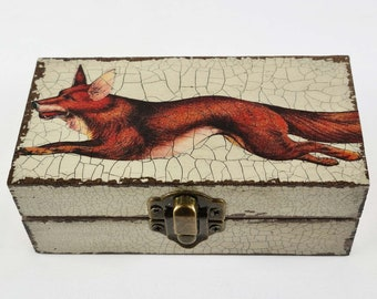 Handcrafted Decoupage Fox on the Run Small Box