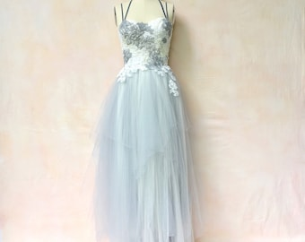 Pewter and ivory gown