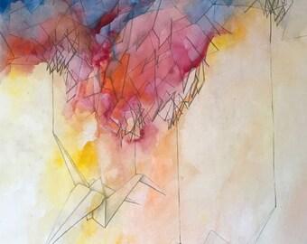 """original, Paper Cranes - 15"""" x 20"""""""