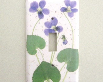 Single sweet violets light switch cover switchplate