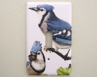 Single light switch cover blue jays bird  switchplate