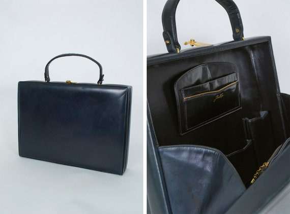 Navy Italian padded leather briefcase, vintage 50s