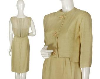 vintage 60s Tippi Hedren silk pencil dress suit, striped blouson illusion bodice, notched + cropped Jackie O jacket, oversize button, size S