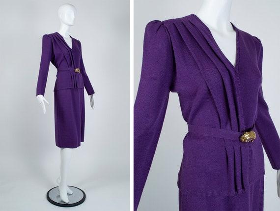 Vintage purple St John puff sleeve knit skirt suit