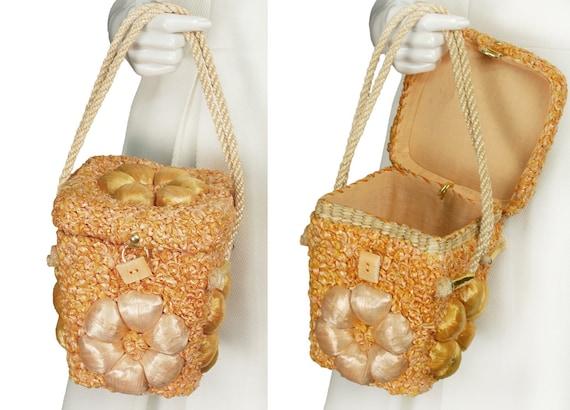Peach raffia basket box purse, vintage 50s straw d