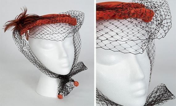 Orange velvet veiled cocktail hat, vintage 50s sau