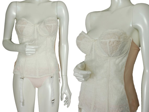 Ivory embroidered open bottom girdle, vintage 50s