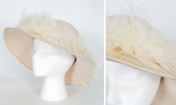Boho ivory ostrich feather floppy hat, vintage 70s