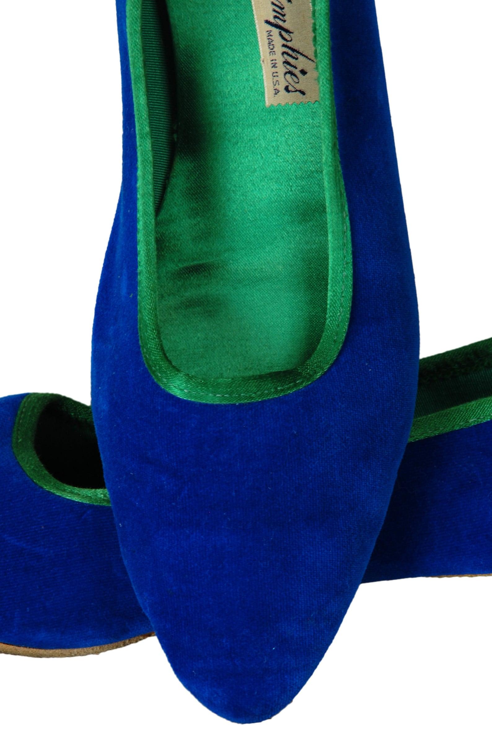 blue + green velvet and satin ballet flats, vintage 60s padded slippers slides, size 10