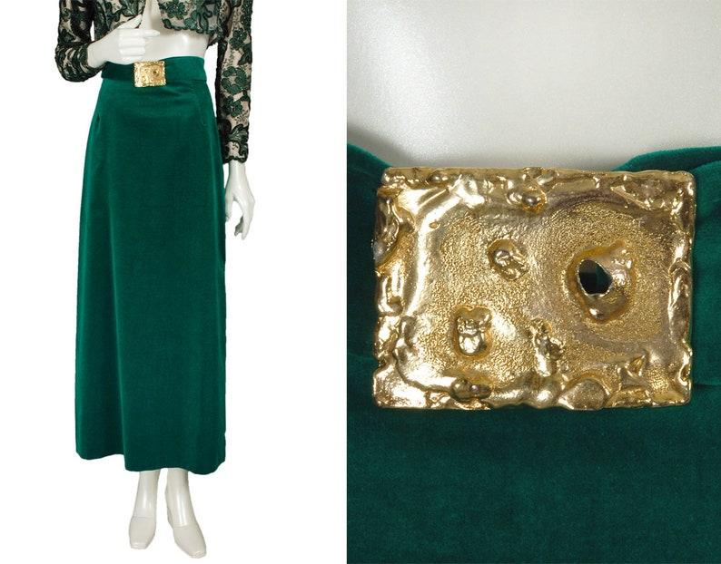 Vintage emerald green velveteen maxi skirt gold Brutalist buckle mid-century 1960s hostess skirt size S
