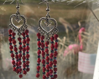 Earrings - Hearts - Red and Gray Handmade Jewelry - Long Chandelier Earrings - Gift For Her