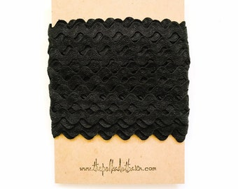 Black Ric Rac 10 Yards - Black Ric Rac - Ric Rac - Black - Black trim - Black Zig Zag - Black Vintage trim - Wholesale Ric Rac - Fabric ric