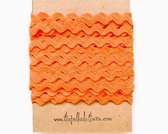 Orange Ric Rac 1/2 inch - Orange Ric Rac - Bulk Wholesale Ric Rac - Zig Zag Ribbon - Ric Rac - Orange Ribbon - Orange Trims - Orange