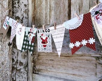 vintage  CHRISTMAS junque burlap banner - Vintage Christmas Banner - Christmas ephemera - Christmas holiday Garland - Christmas banner