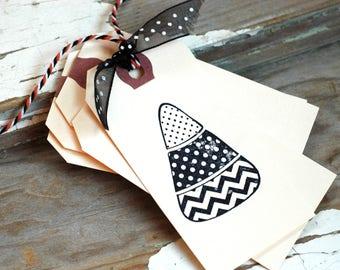 Candy corn tag - Candy corn mini tags - Halloween candy corn - 10 polka dot candy corn hand stamped mini tags - Treat bag tags - Halloween